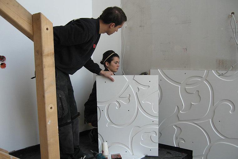 Wandverkleidung mit Holzbau Wolf